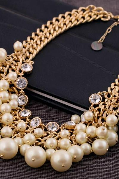 Fashion accessories Collares 2016 simulated pearl short design necklace NL001