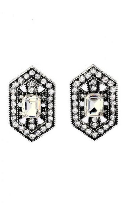 Alloy Retro European Pop Sparkling Party Jewelry Modern Women Simple Stud Earrings EH003