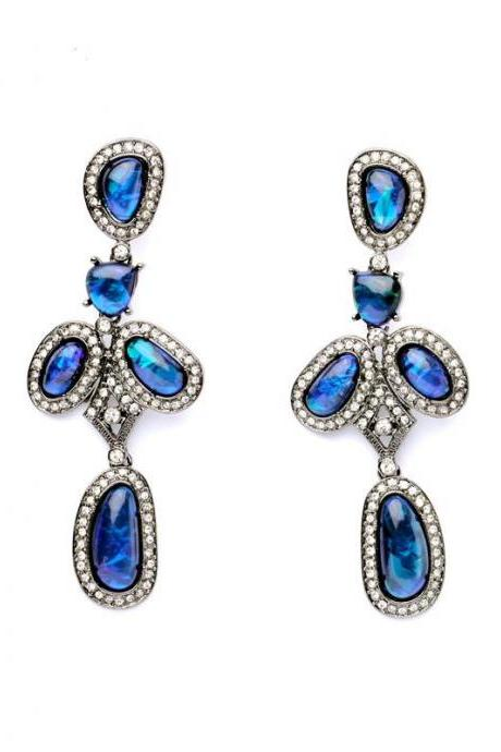 Amazing Evening Party Jewelry Noble Fashion Long Crystal Drop Earrings Maxi Brinco EH007