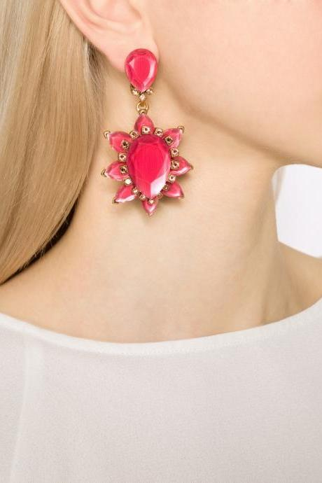 Personalized Red Imitation Gems Flowers Large Statement Dangle Earrings
