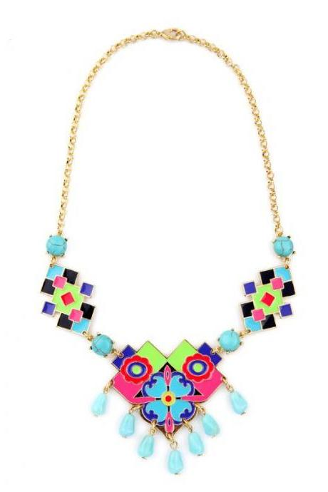 Colorful Enamel Flowers Pendant Necklace New Arrvial 2016 Women Statement Jewelry NL034