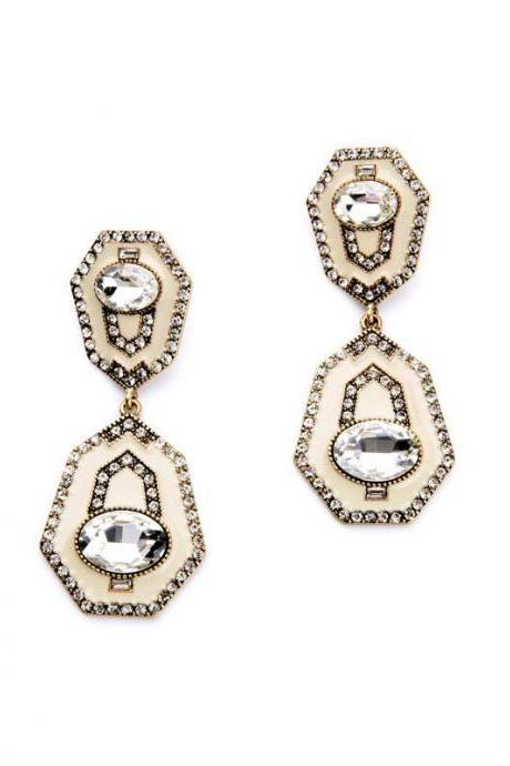 Unique Alloy Retro Fashion Trendy 2016 Set Crystal Enamel Statement Women Earrings EH055