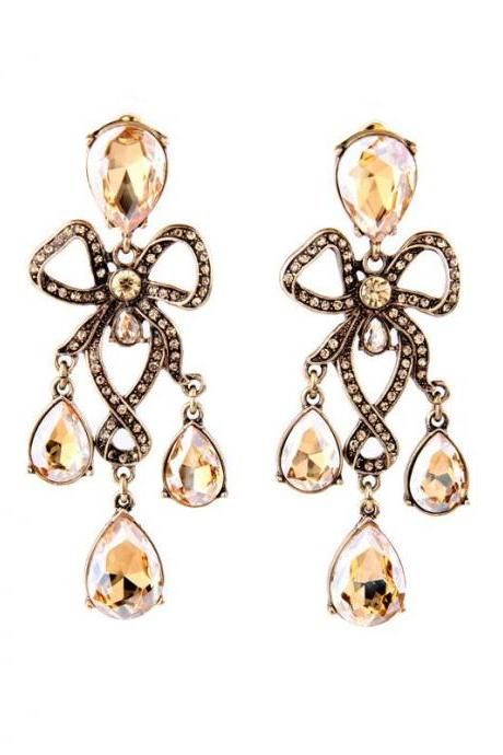 Royal Styel Classical Champagne Crystal Chandelier Maxi Evening Party Drop Earrings EH063