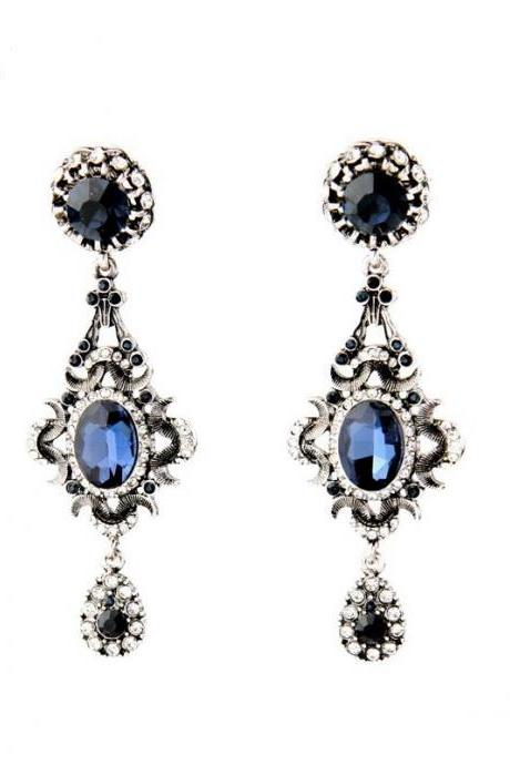 Evening Party Classical Fashion Jewelry New Design Blue Crystal Long Drop Earrings EH066