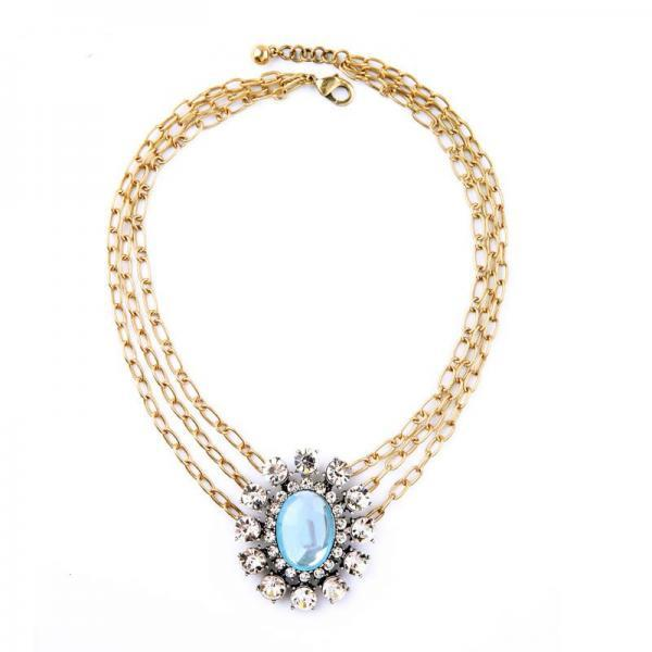 Oval Light Blue Crystal Multilayer Pendant Necklace NL037