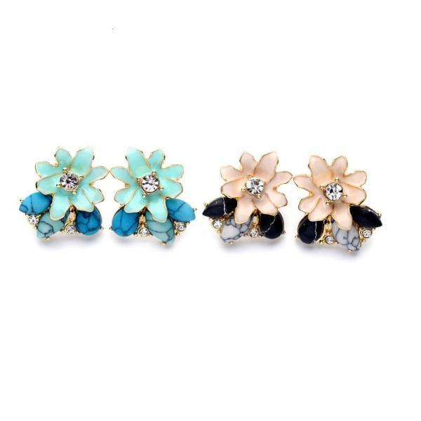 Women Chic Irregular Texture Enamel Flowers Ear Stud Earrings Fashion Jewelry EH049