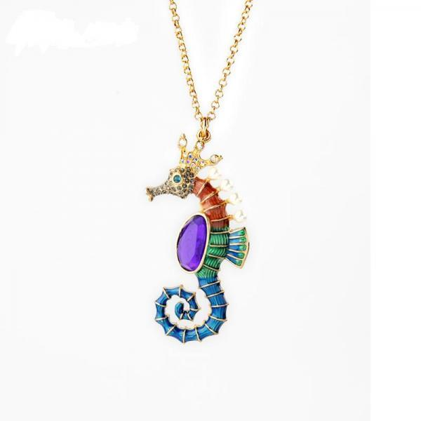 Unique Women Jewlery Multicolor Enamel Sea Horse Long Pendant Necklace NL038