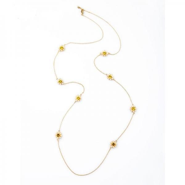 Simple Fashion Costume Jewelry Long Sweater Chain Flowers Women Necklace NL042