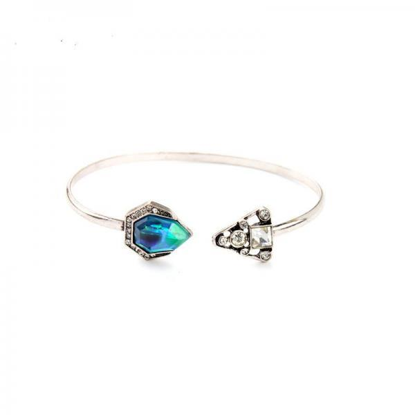 Personality Asymmetry Crystal Silver Plated Open Charming Cuff Bracelet Bangle SZ030