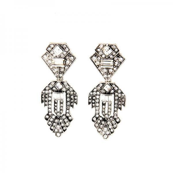 New Design Clearly Set Crystal Maxi Geometric Statement Drop Earrings EH061