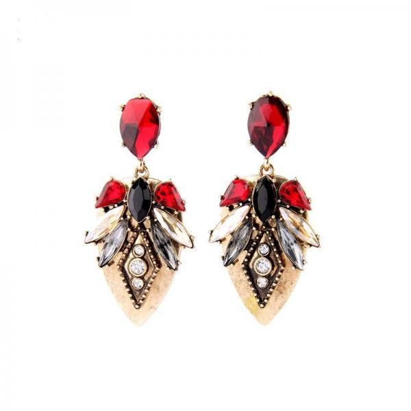 Women Statement Jewelry Fashon Maxi Alloy Retro Crystal Drop Earrings EH065
