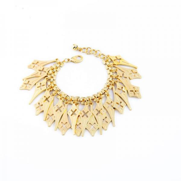European Pop Gold Plated Geometric Tassel Pendant Alloy Fashion Punk Retro Charm Bracelet SZ039